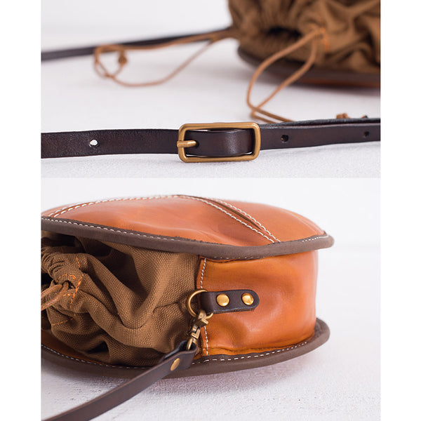 Womens Leather Circle Bag Round Purse Small Crossbody Purse for Women Accessories