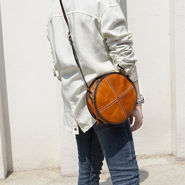 Womens Leather Circle Bag Round Purse Small Crossbody Purse for Women Designer