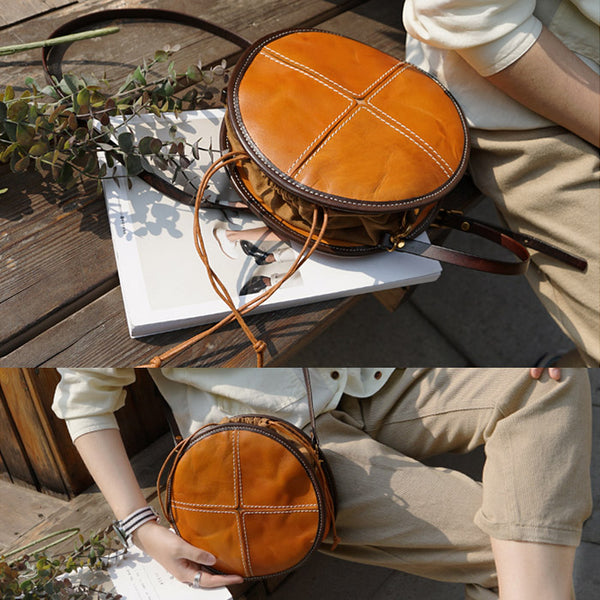 Womens Leather Circle Bag Round Purse Small Crossbody Purse for Women Details