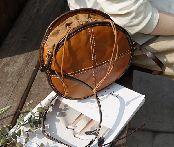 Womens Leather Circle Bag Round Purse Small Crossbody Purse for Women Genuine Leather