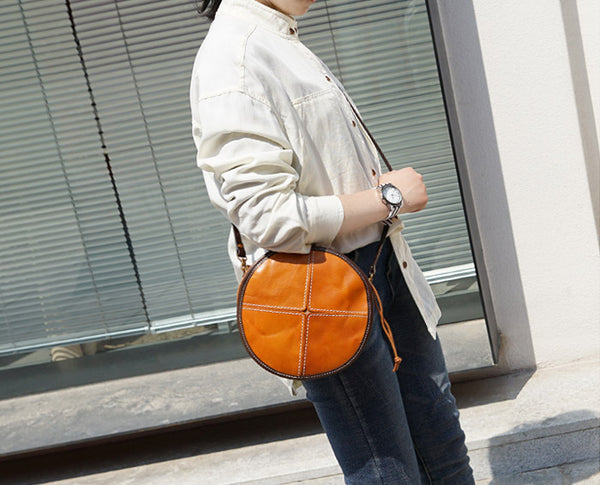 Womens Leather Circle Bag Round Purse Small Crossbody Purse for Women Handmade