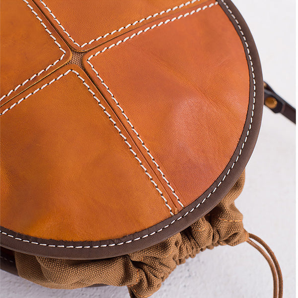 Womens Leather Circle Bag Round Purse Small Crossbody Purse for Women beautiful