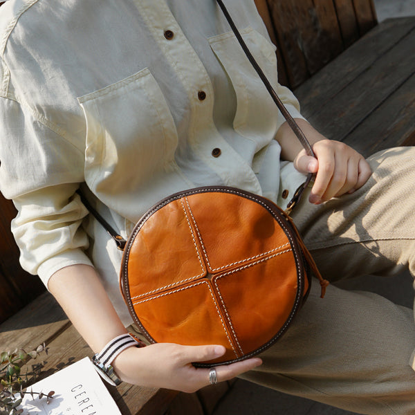 Womens Leather Circle Bag Round Purse Small Crossbody Purse for Women cowhide