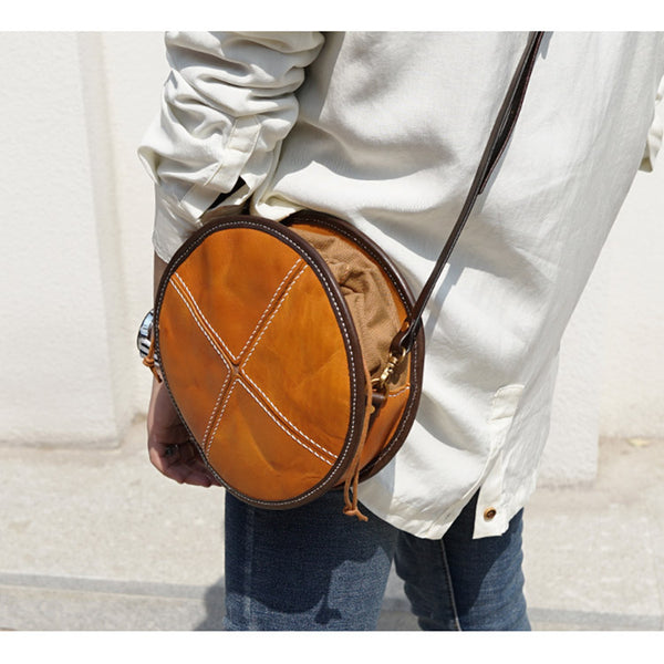 Womens Leather Circle Bag Round Purse Small Crossbody Purse for Women cute