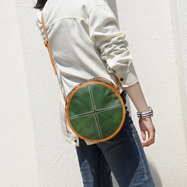 Womens Tan Leather Circle Bag Round Purse Over The Shoulder Purse for Women Designer