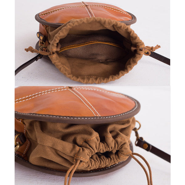 Womens Leather Circle Bag Round Purse Small Crossbody Purse for Women