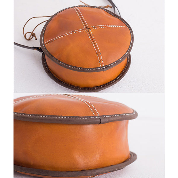 Womens Leather Circle Bag Round Purse Small Crossbody Purse
