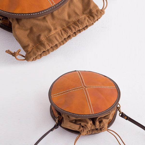 Womens Leather Circle Bag Round Purse Small Crossbody