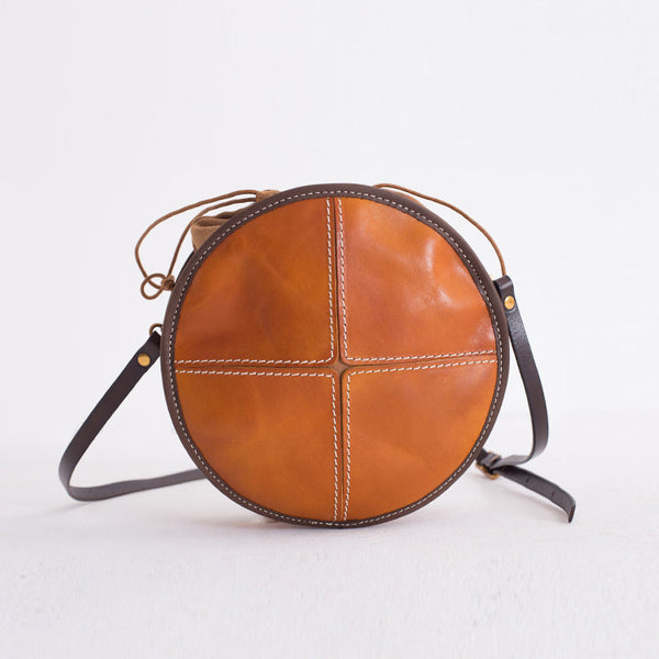Womens Leather Circle Bag Round Purse