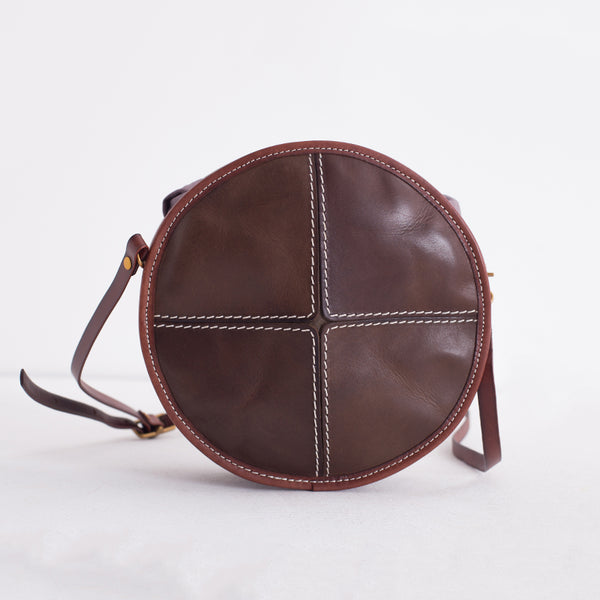 Ladies Green Leather Round Bag Circle Purse Casual Crossbody Bag for Women