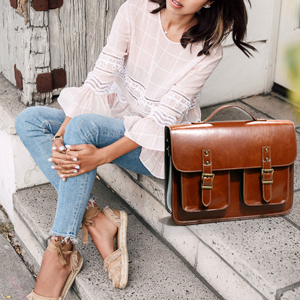 Womens Genuine Leather Crossbody Laptop Messenger Bag Backpack Purse for Women