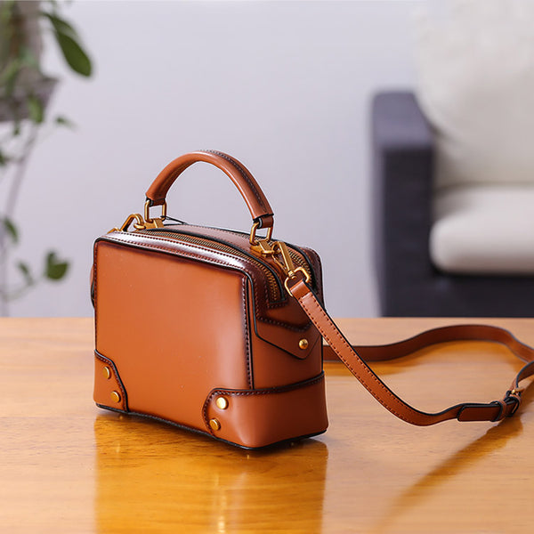 Womens Leather Cube Bag Crossbody Bags Shoulder Bag Purses for Women Brown