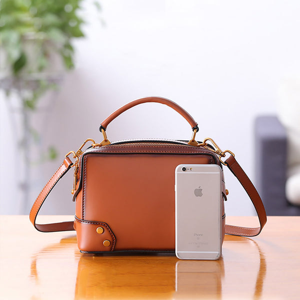 Womens Leather Cube Bag Crossbody Bags Shoulder Bag Purses for Women Chic