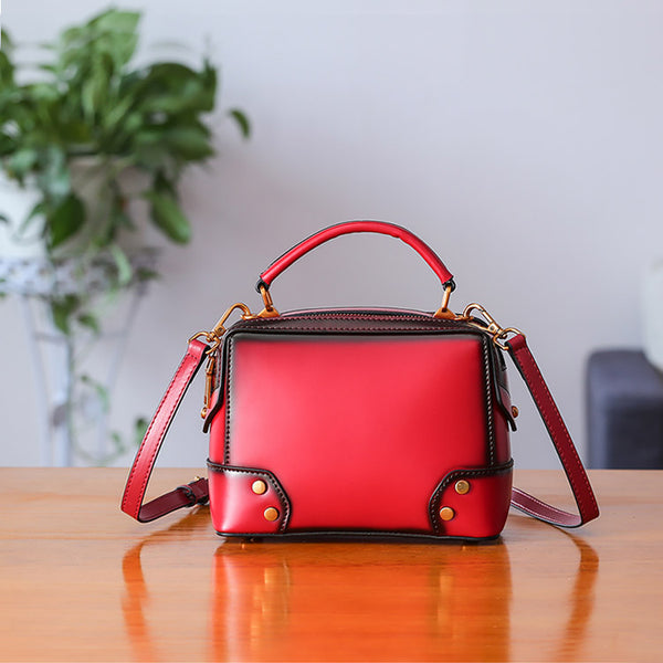 Womens Leather Cube Bag Crossbody Bags Shoulder Bag Purses for Women Details