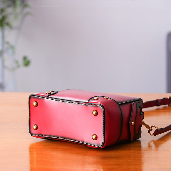 Womens Leather Cube Bag Crossbody Bags Shoulder Bag Purses for Women Genuine Leather