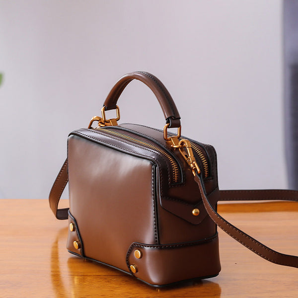 Womens Leather Cube Bag Crossbody Bags Shoulder Bag Purses for Women Handmade