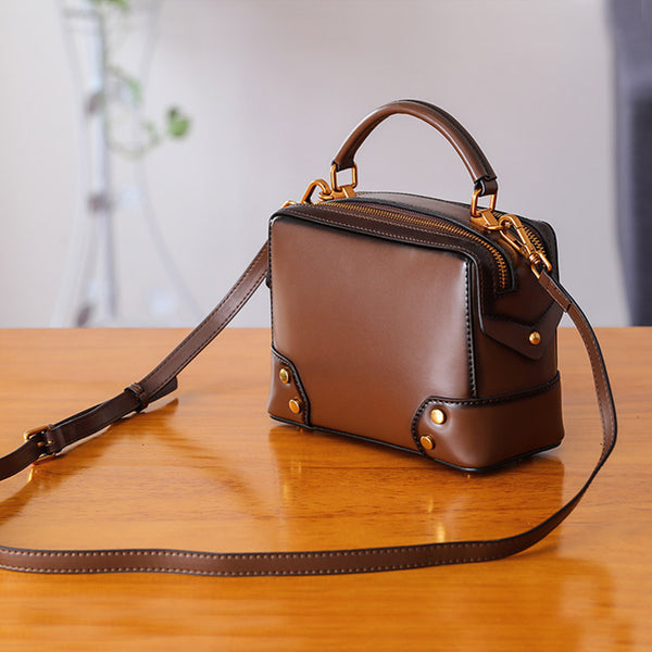 Womens Leather Cube Bag Crossbody Bags Shoulder Bag Purses for Women Original