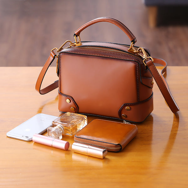 Womens Leather Cube Bag Crossbody Bags Shoulder Bag Purses for Women Boutique