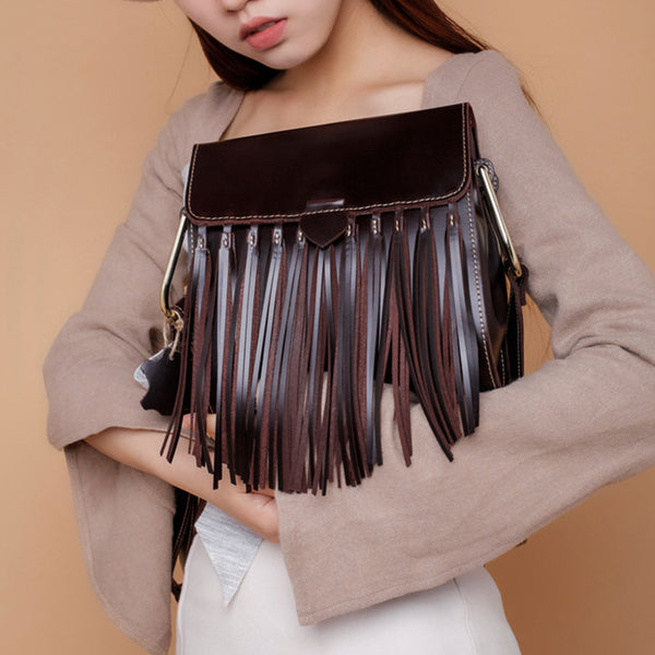 Womens Leather Fringe Crossbody Bag Western Purses Cross Shoulder Bag for Women Chic