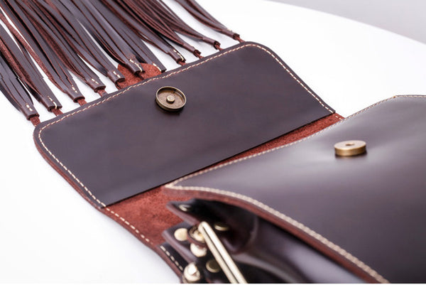 Womens Leather Fringe Crossbody Bag Western Purses Cross Shoulder Bag for Women Genuine Leather