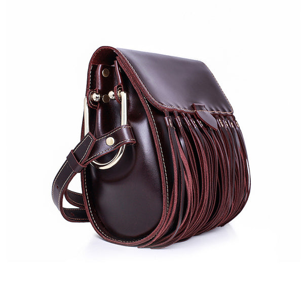 Womens Leather Fringe Crossbody Bag Western Purses Cross Shoulder Bag