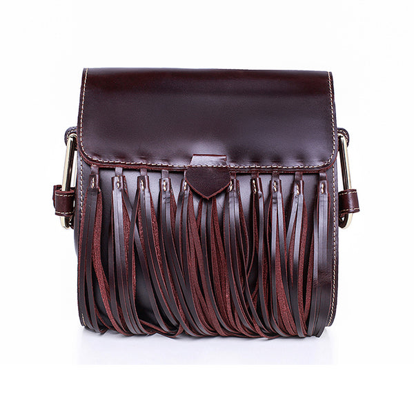 Womens Leather Fringe Crossbody Bag