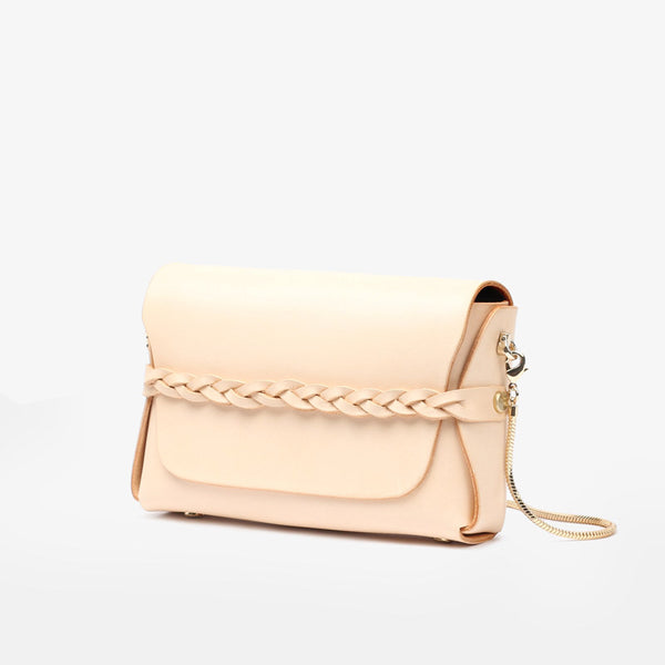 Womens Beige Leather Shoulder Bag Small Crossbody Bags Purse for Women