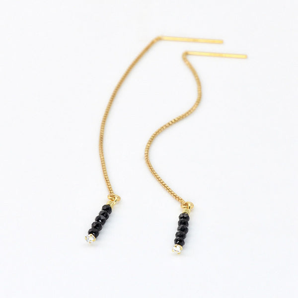 Womens Long 14 Gold Thread Earrings Black Spinel Beaded Dangle Earrings for Women charm