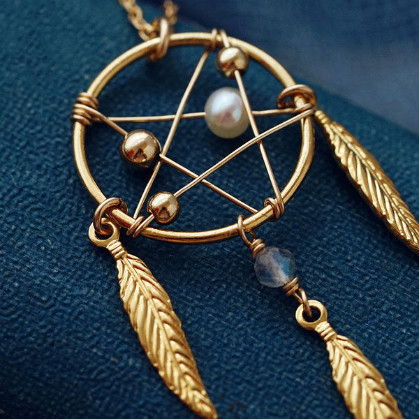 Womens Pearl Moonstone 14K Gold Plated Silver Pendant Necklace for Women cute