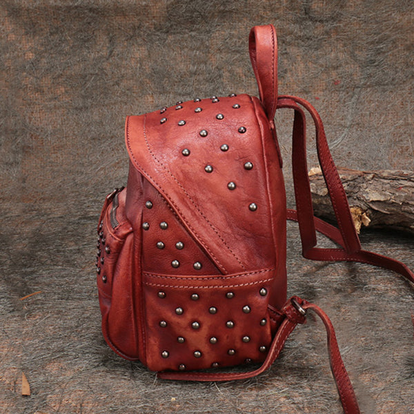 Womens Rivets Leather Small Backpack Purse Cool Backpacks for Women Boutique