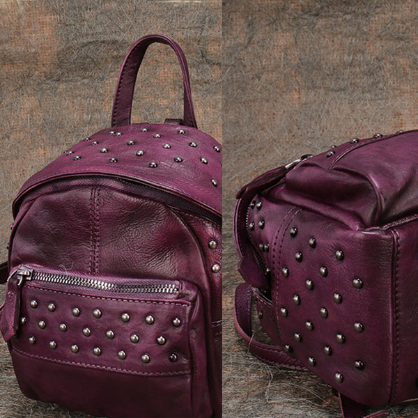 Womens Rivets Leather Small Backpack Purse Cool Backpacks for Women Details