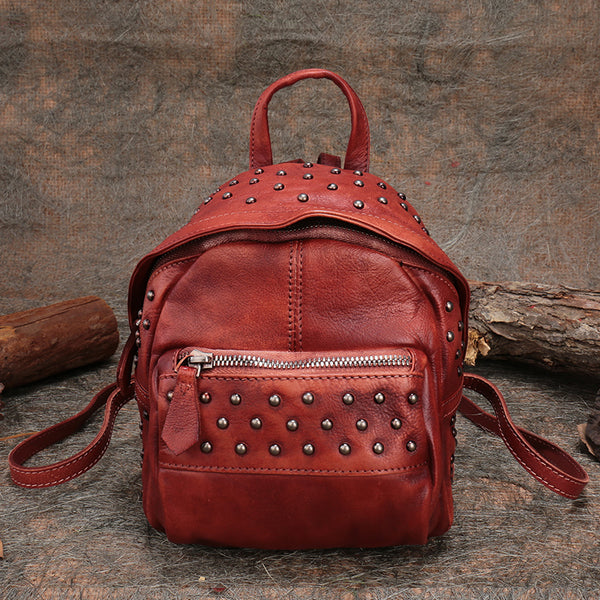 Womens Rivets Leather Small Backpack Purse Cool Backpacks for Women beautiful
