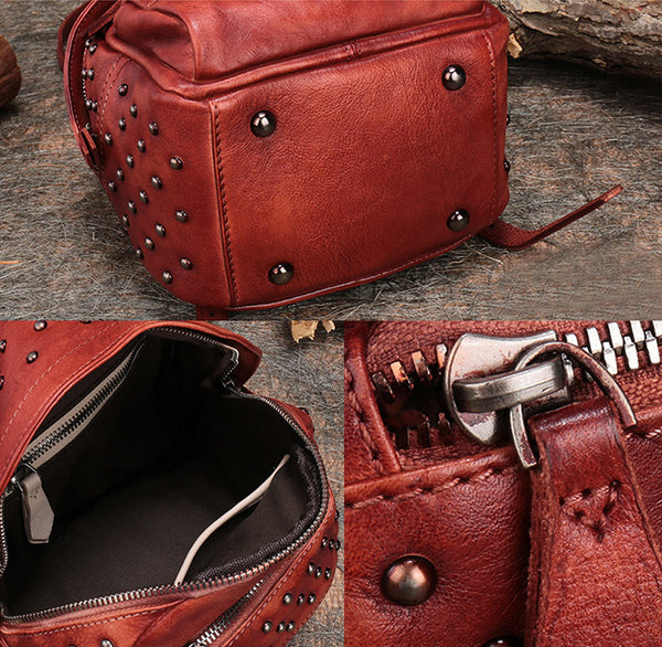 Womens Rivets Leather Small Backpack Purse Cool Backpacks for Women cool