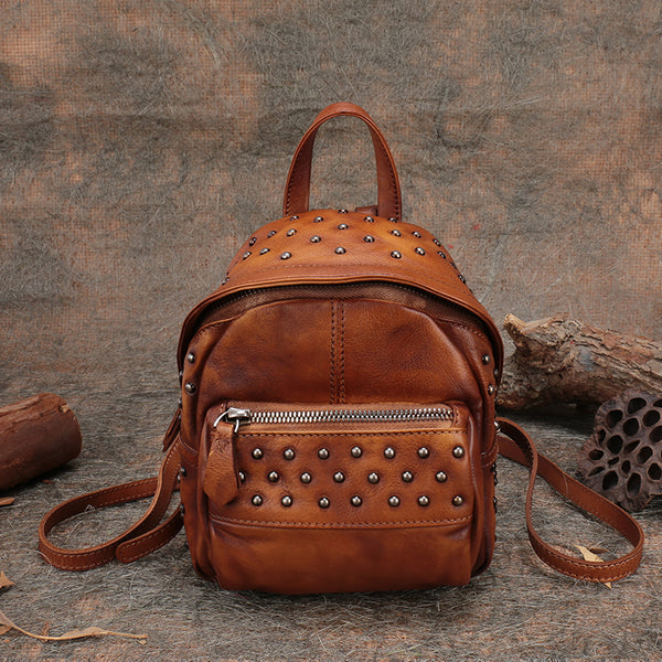 Womens Rivets Leather Small Backpack Purse Cool Backpacks for Women