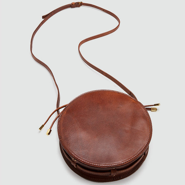 Womens Round Tan Leather Crossbody Bag Circle Bag Purse Shoulder Bag Chic