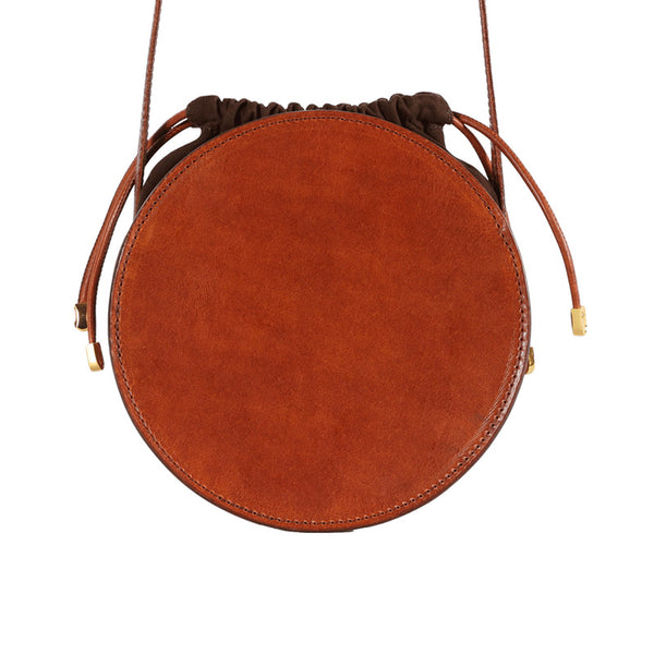 Womens Round Tan Leather Crossbody Bag Circle Bag Purse Shoulder Bag Minimalist