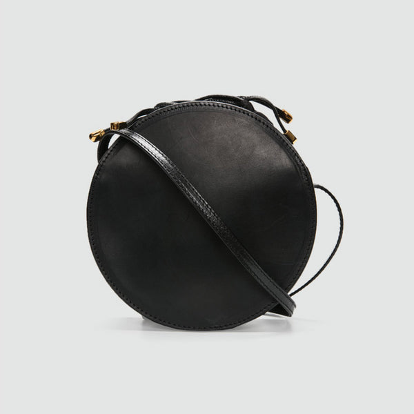 Womens Round Tan Leather Crossbody Bag Circle Bag Purse Shoulder Bag black
