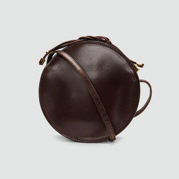 Womens Round Tan Leather Crossbody Bag Circle Bag Purse Shoulder Bag cowhide