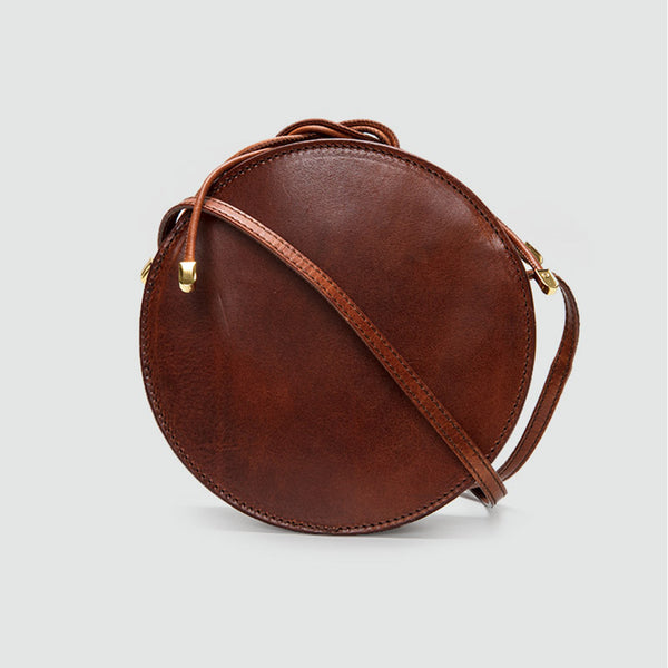 Womens Round Tan Leather Crossbody Bag Circle Bag Purse Shoulder Bag