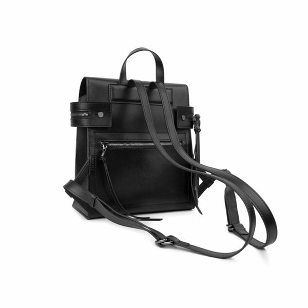 Womens Small Black Leather Backpack Purse Genuine Leather Zip Backpack Handbag for Women cowhide