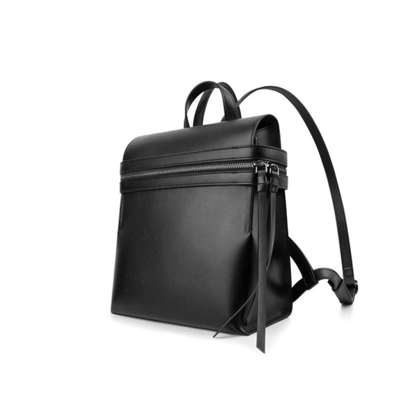 Womens Small Black Leather Backpack Purse