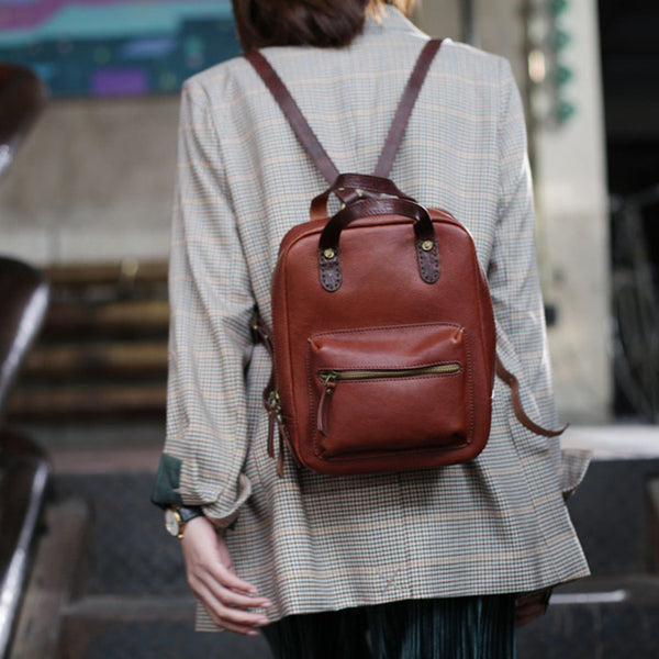 Womens Small Brown Genuine Leather Backpack Bag Purse Nice Backpacks for Women Chic