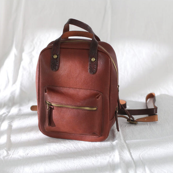 Womens Small Brown Genuine Leather Backpack Bag Purse Nice Backpacks for Women Details