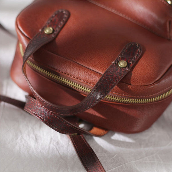 Womens Small Brown Genuine Leather Backpack Bag Purse Nice Backpacks for Women Genuine Leather