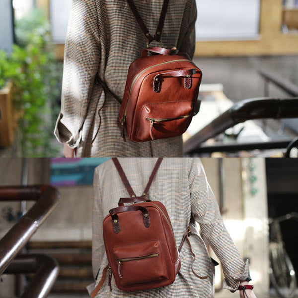 Womens Small Brown Genuine Leather Backpack Bag Purse Nice Backpacks for Women Unique