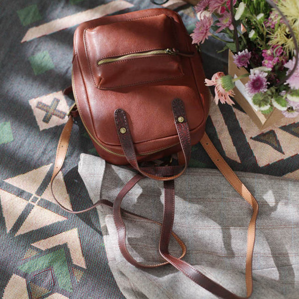 Womens Small Brown Genuine Leather Backpack Bag Purse Nice Backpacks for Women beautiful