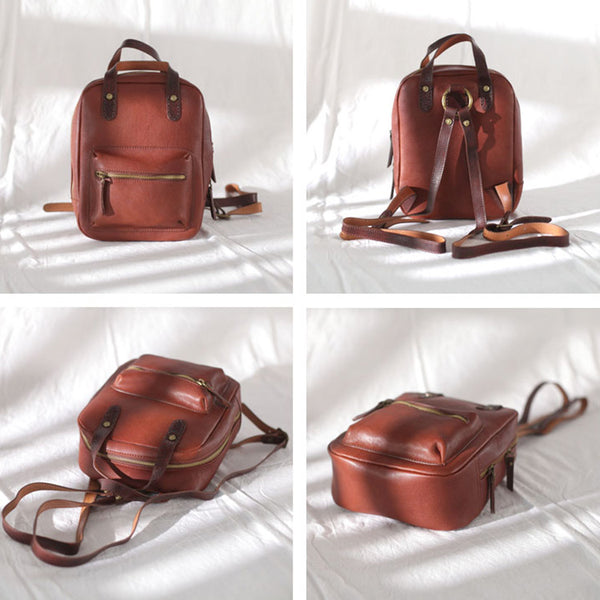 Womens Small Brown Genuine Leather Backpack Bag Purse Nice Backpacks for Women funky