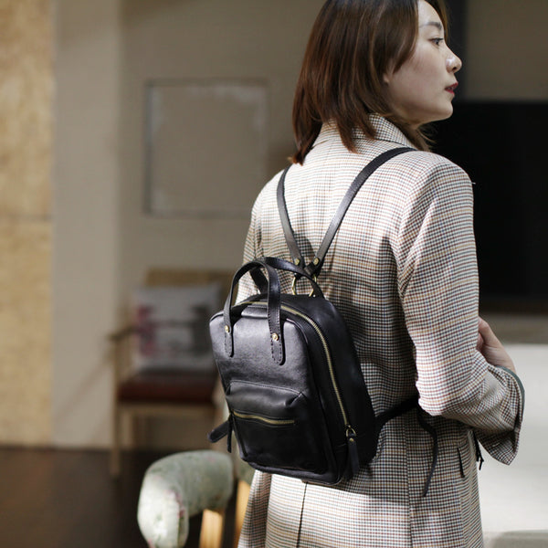 Womens Small Brown Genuine Leather Backpack Bag Purse Nice Backpacks for Women