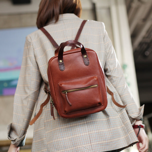 Womens Small Brown Genuine Leather Backpack Bag Purse