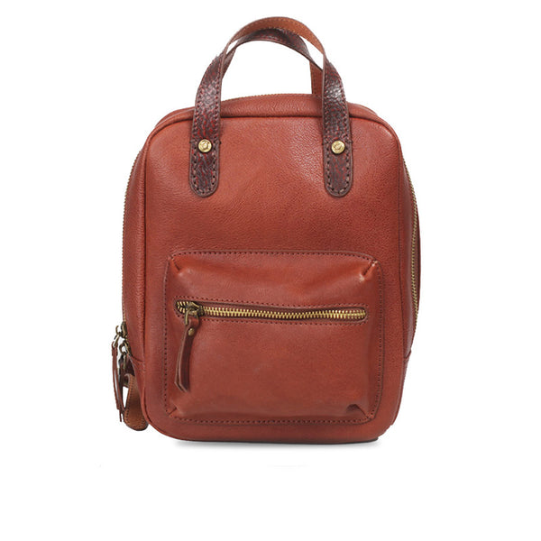 Womens Small Brown Genuine Leather Backpack Bag
